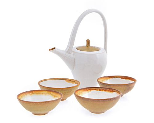 Σετ Τσαγιού - Κεραμικό, Άσπρο - Καφέ