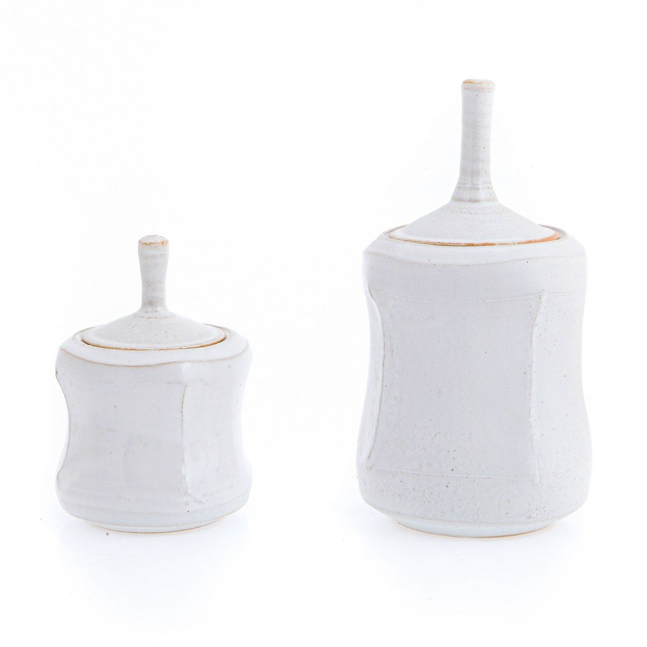 Kitchen Storage Container or Jar Set of 2 Handmade Ceramic White