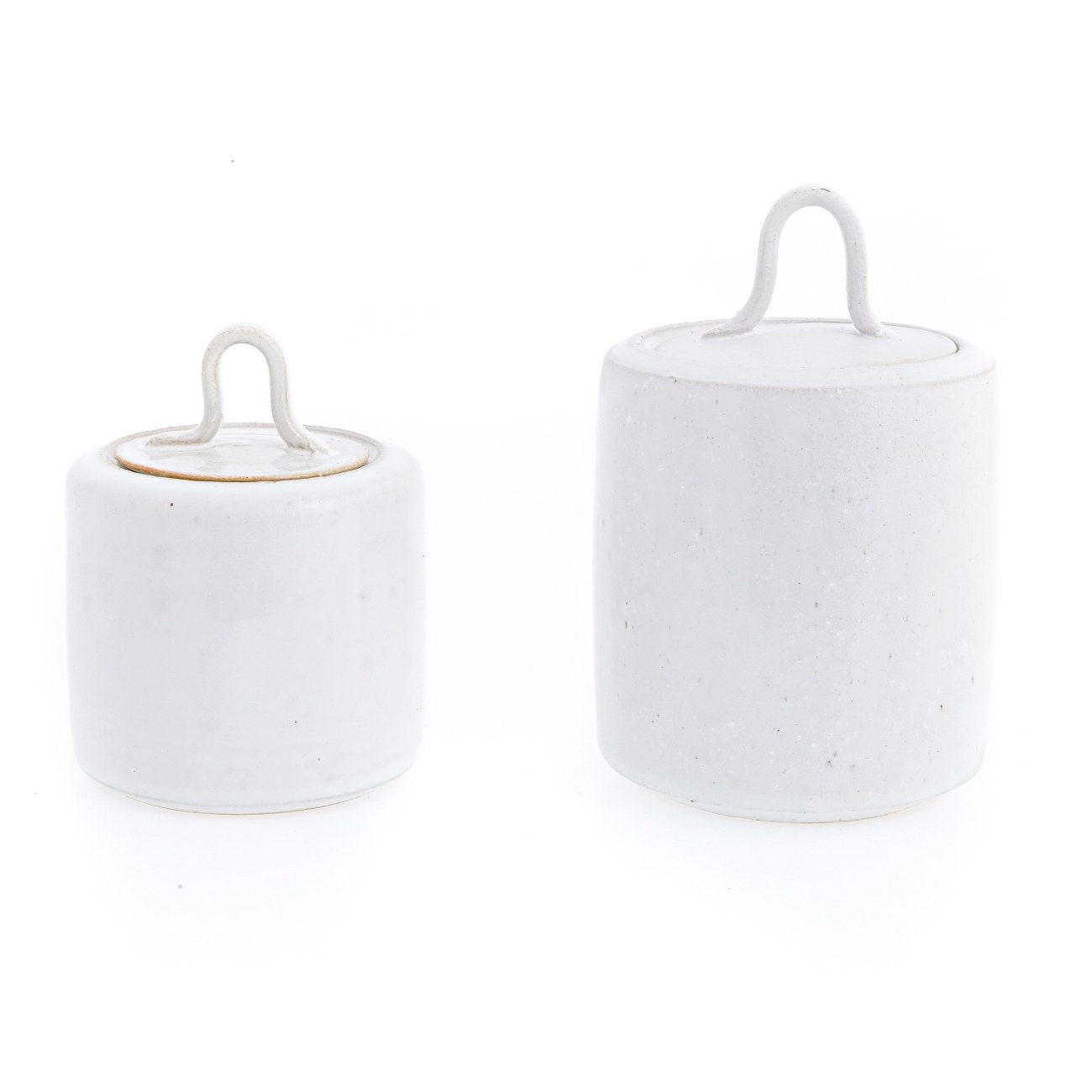 Kitchen Storage Container Or Jar Set Of 2 Handmade Ceramic White Curvy Handle Lid