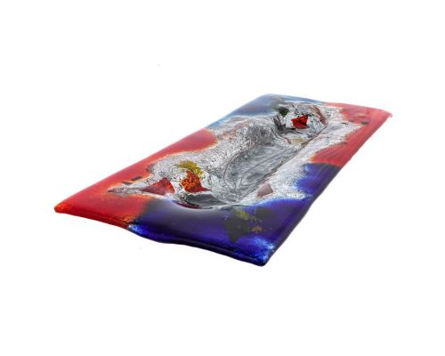 Large Decorative Platter, Rectangular Handmade, Fused Glass Centerpiece, Red Blue Design 59cm (23.3'')