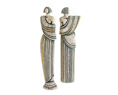 Γλυπτό Γυναικεία Φιγούρα σε Βάθρο - Κεραμικό Διακοσμητικό Αγαλματίδιο - Αρχαϊκό Σχέδιο