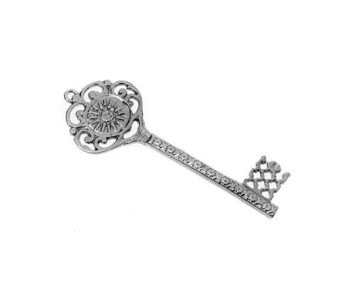 Διακοσμητικό Κλειδί - Γούρι, Μεταλλικό, Μεγάλο - Βεργίνα, Ασημί