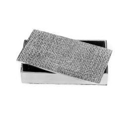 Μεταλλικό Κουτί - Διακοσμητικό με Σαγρέ Καπάκι, Ασημί