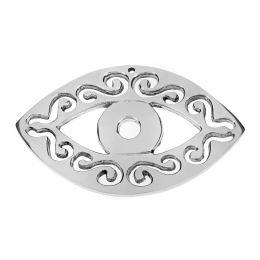 Διακοσμητικό Μάτι - Γούρι, Μεγάλο, Μεταλλικό, Ασημί