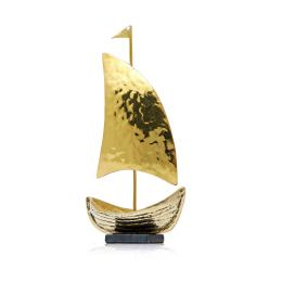 "Sailing Boat - Handmade Bronze Decorative Ornament, Gold 13.5cm (5.3"")"