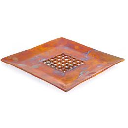 Decorative Platter - Handmade Modern Metal Tabletop Centerpiece - Carved Center - Oxidized Bronze Metal - 27x27cm (10.6'' x 10.6'')