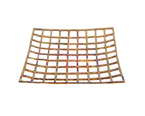 Decorative Platter - Handmade Modern Metal Tabletop Centerpiece - Checkered Pattern - Oxidized Bronze - 31x31cm (12.2'' X 12.2'')