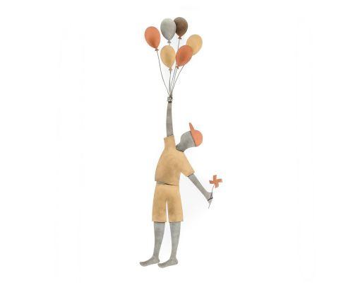 Αγόρι με Μπαλόνια - Μεταλλικό Διακοσμητικό Τοίχου (60cm)