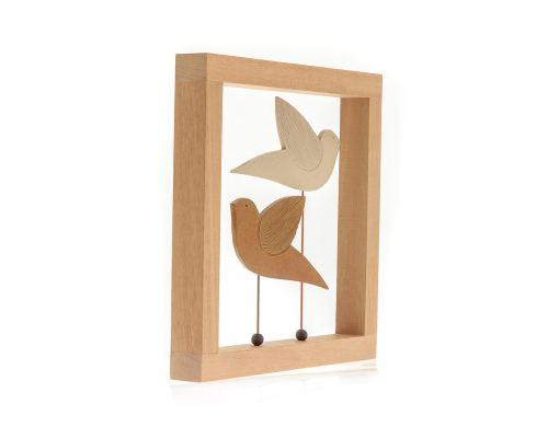 Διακοσμητικό Τοίχου - Κεραμικό, σε Ξύλινη Κορνίζα - Πουλιά, Μπεζ & Καφέ
