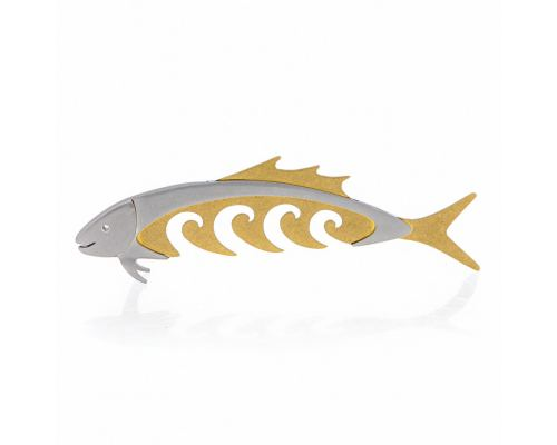 "Fish Modern Sculpture - Handmade Stainless Steel & Bronze Table Art Decor, Style C -13"" (33cm)"