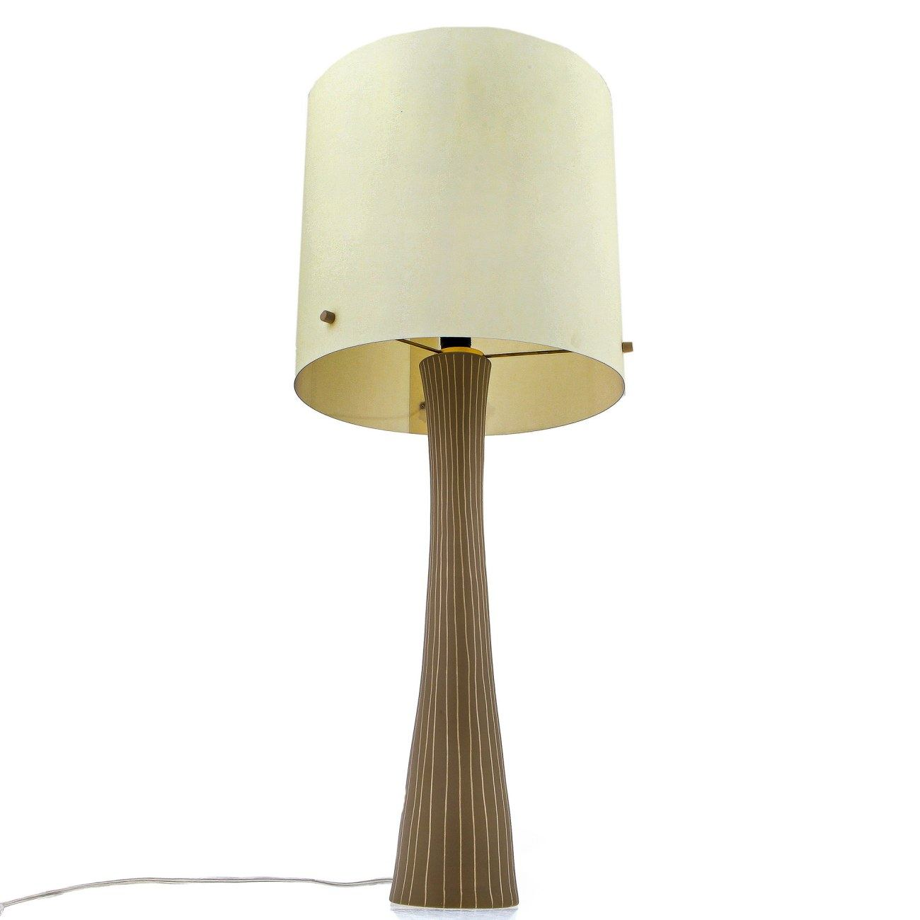 Ceramic Table Lamp With Shade Modern Handmade Beige Large
