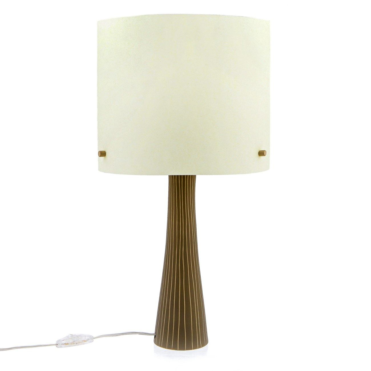 Ceramic Table Lamp With Shade Modern Handmade Beige Small