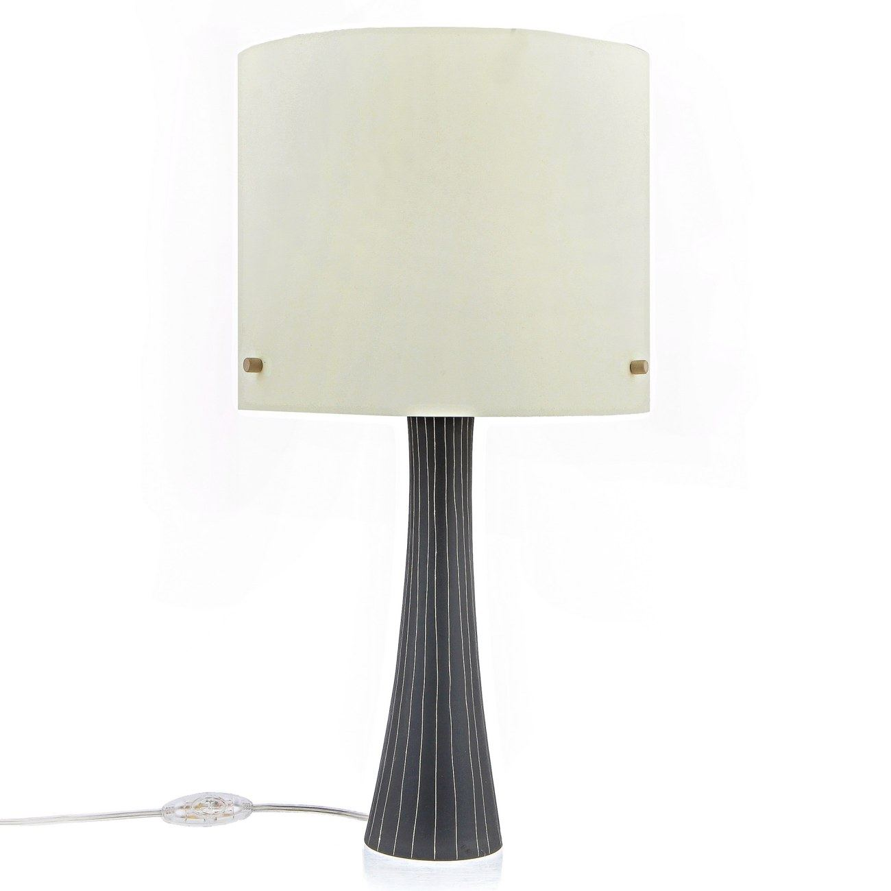 Ceramic Table Lamp With Shade Modern Handmade Grey Small