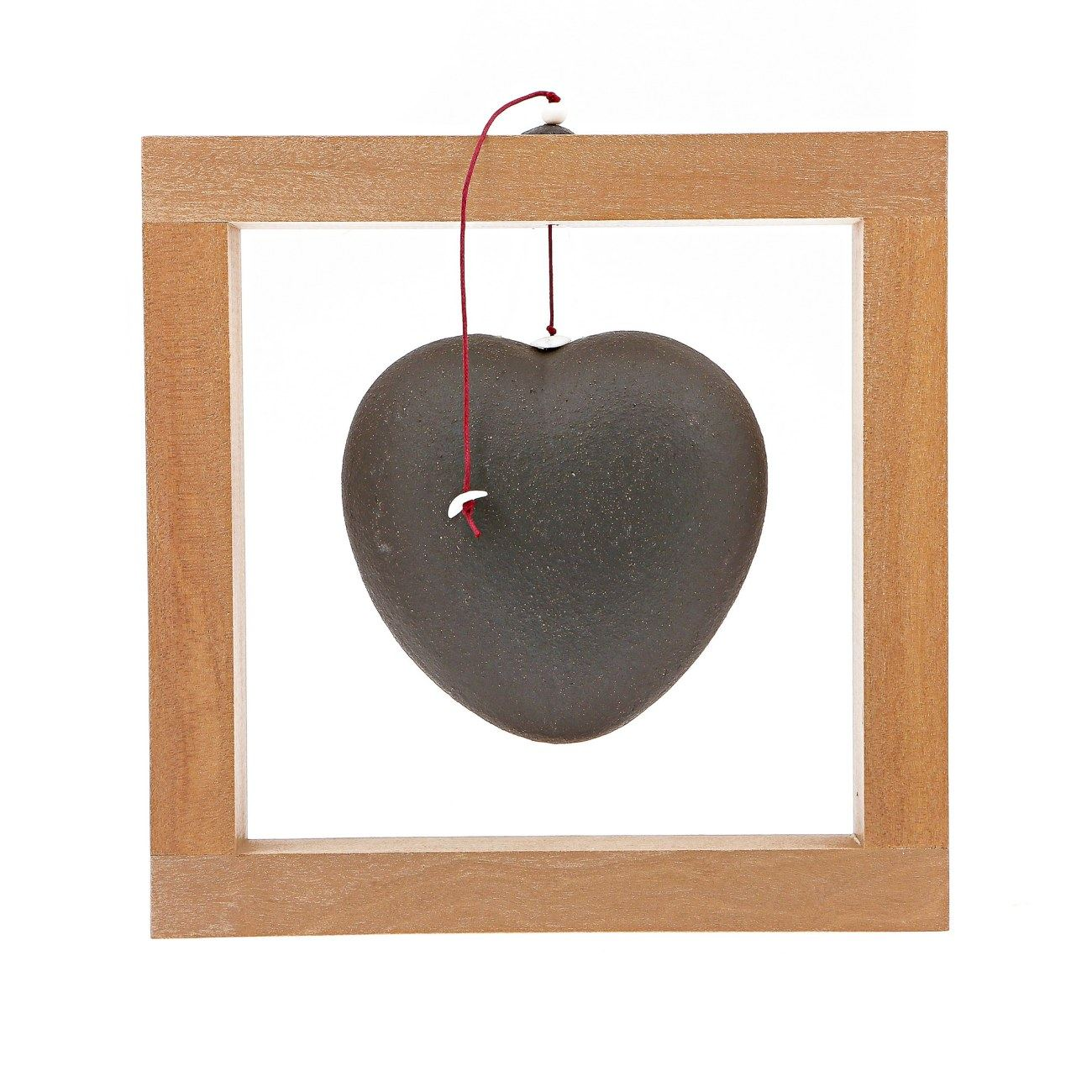 Modern Love Heart Handmade Ceramic Wood Framed Art Decor Black Large 8x8 20x20cm