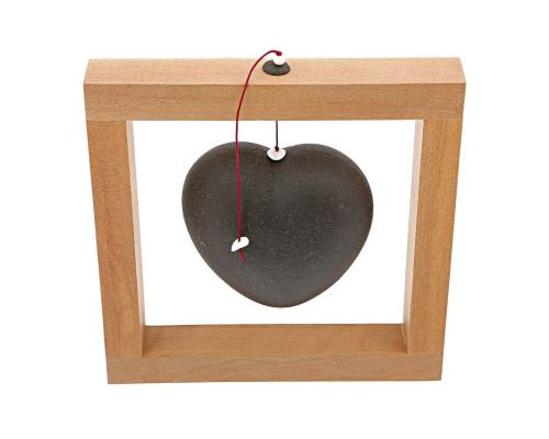 Modern Love Heart - Handmade Ceramic & Wood Framed Art Decor - Black - Large 8x8'' (20x20cm)