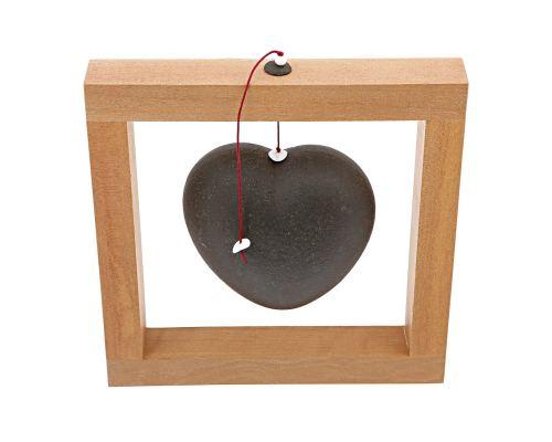 Καρδιά Μαύρη - Κεραμικό Διακοσμητικό με Ξύλινο Πλαίσιο - Μεγάλο