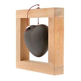 Καρδιά Μαύρη - Κεραμικό Διακοσμητικό με Ξύλινο Πλαίσιο - Μικρό