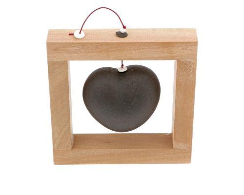 Modern Love Heart - Handmade Ceramic & Wood Frame Art Decor - Black - Small 6.3x6.3'' (16x16cm)
