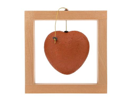 Καρδιά Κόκκινη - Κεραμικό Διακοσμητικό με Ξύλινο Πλαίσιο - Μικρό