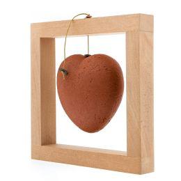 Modern Love Heart - Handmade Ceramic & Wood - Framed Art Decor - Red - Small 6.3x6.3'' (16x16cm)