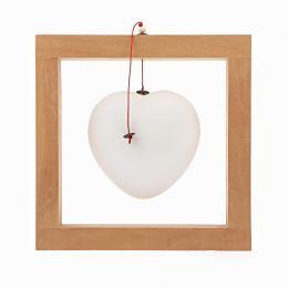 Καρδιά, Άσπρη - Κεραμικό Διακοσμητικό με Ξύλινο Πλαίσιο - Μεγάλο