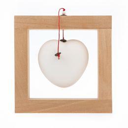 Καρδιά, Άσπρη - Κεραμικό Διακοσμητικό με Ξύλινο Πλαίσιο - Μικρό