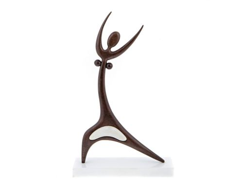 "Dancing Female Figure Modern Sculpture - Handmade Iron & Marble, Table Art Decor - 18.5"" (47cm)"