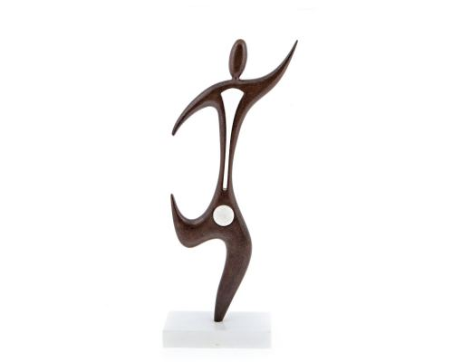 "Dancing Male Figure Modern Sculpture - Handmade Iron & Marble Table Art Decor - 19"" (48cm)"