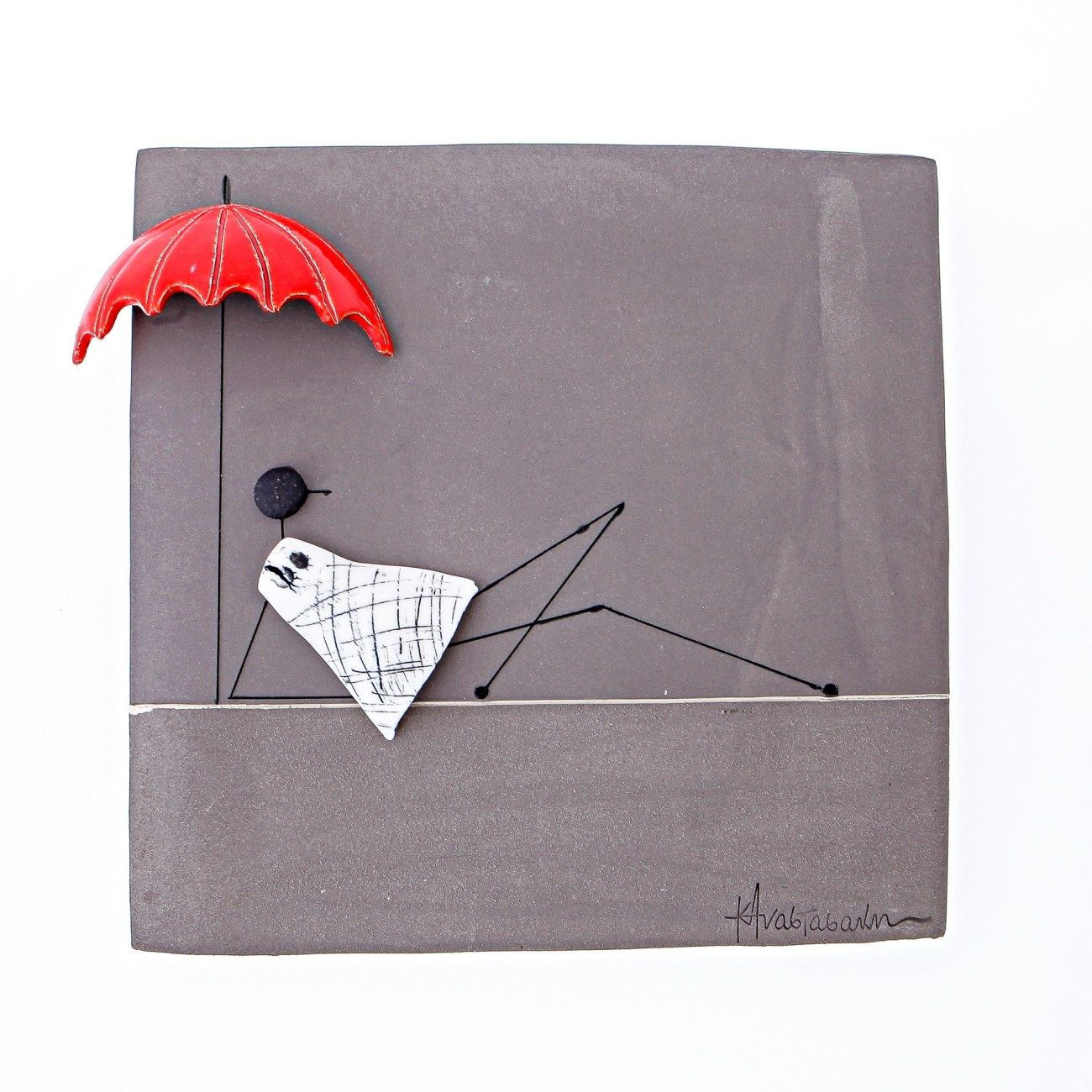 Modern Wall Art Decor Plaque Girl In Rain Handmade 3d Ceramic