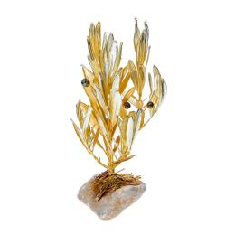 Κλαδί Ελιάς - Επίχρυσο 24Κ & Επάργυρο 925° Διακοσμητικό σε Πέτρα