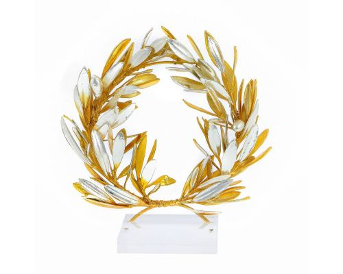 "Olive Wreath - Real Natural Plant - Handmade 24 Karat Gold & 925 Sterling Silver Plated on Plexiglass - Decor Ornament - 16cm (6.3"")"