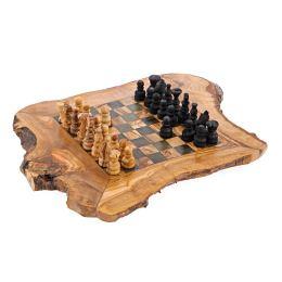 "Olive Wood, Chess Set - Handmade, Rustic Style, Medium 15.7''x15.7"" (40 x 40cm)"