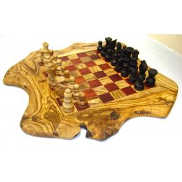 "Olive Wood, Chess Set - Handmade, Rustic Style, Red, Medium 15.7''x15.7"" (40 x 40cm)"