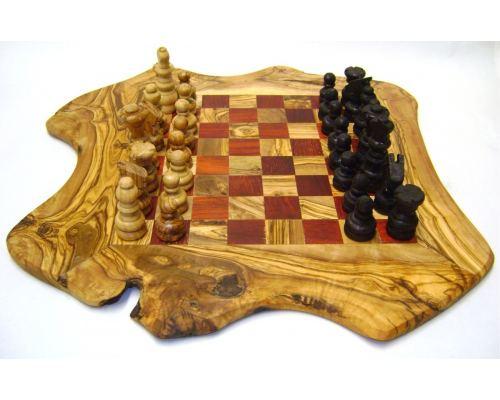 Σκάκι - Ξύλινο Παιχνίδι από Ελιά - Μεσαίο, Κόκκινο