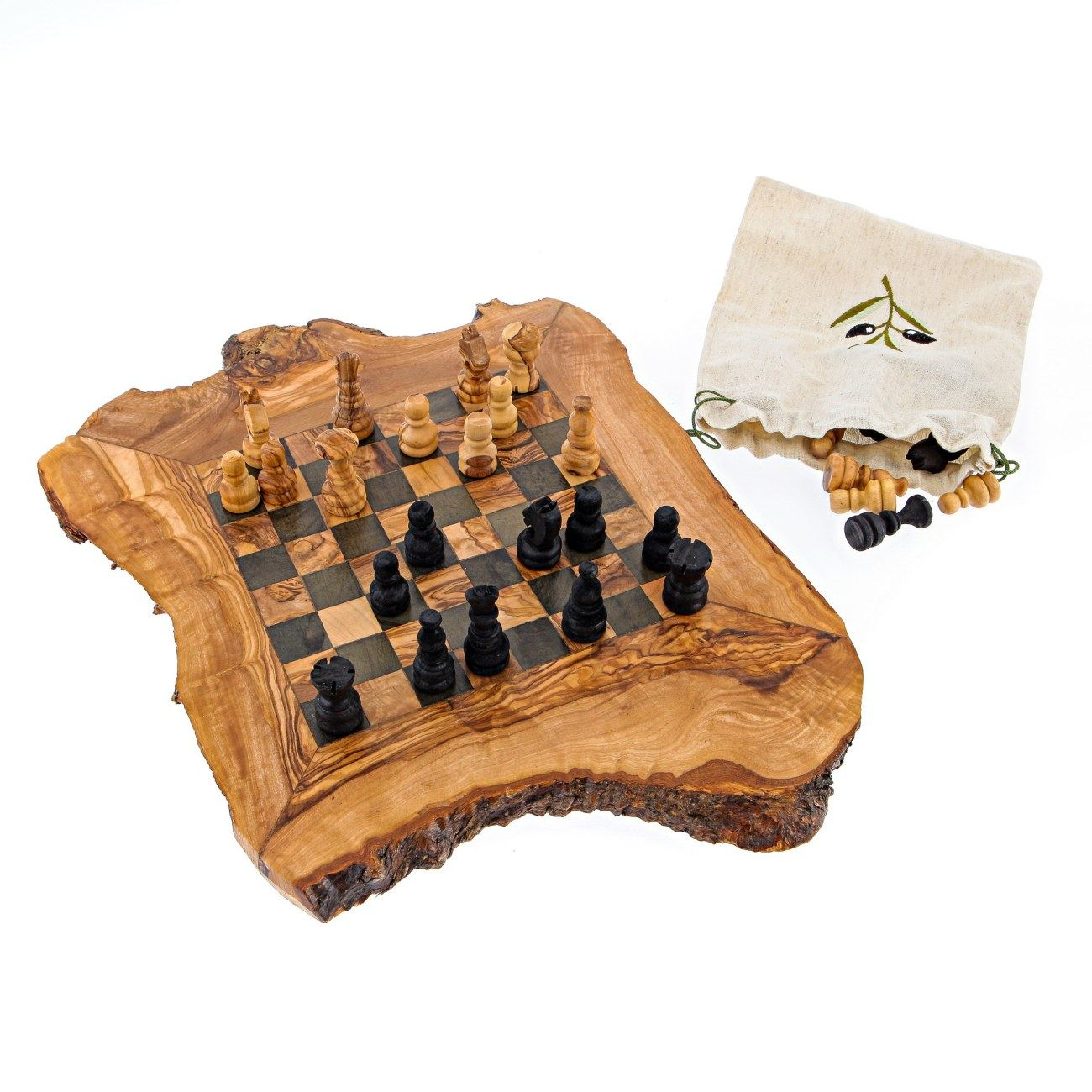Wood Board Games ~ Olive wood chess set handmade rustic style small