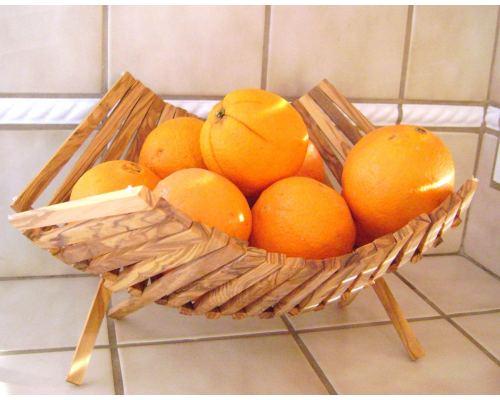 """Olive Wood Fruit Basket - Handmade Folding Basket, 11"""" (29cm)"""