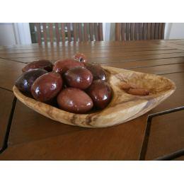 Μπωλ & Πηρουνάκι για Ελιές - Από Ξύλο Ελιάς, Οβάλ 2 Θέσεων