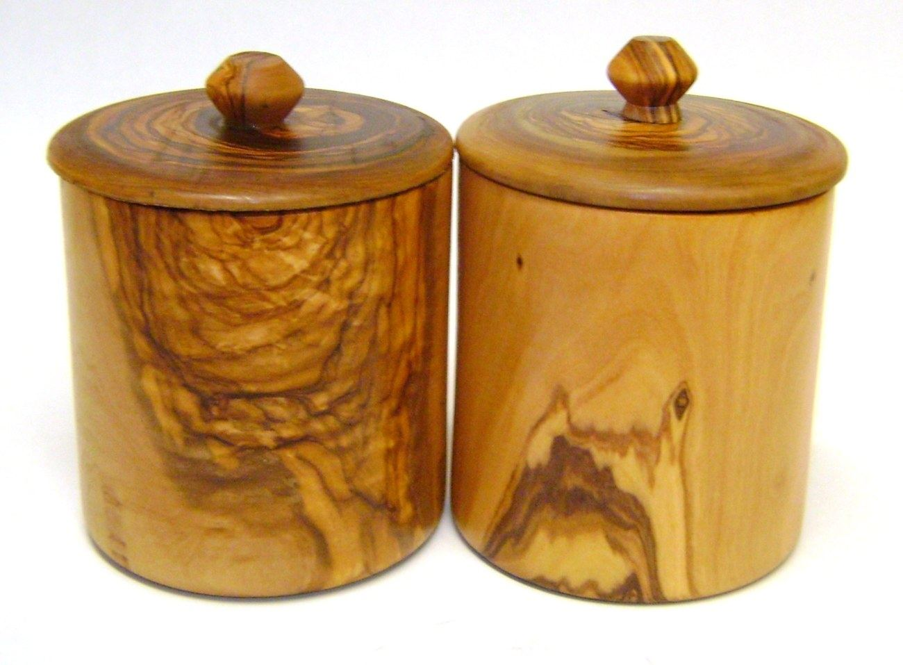 Olive Wood Coffee U0026 Sugar Containers Set Of 2   Handmade Set Of Tall Jars