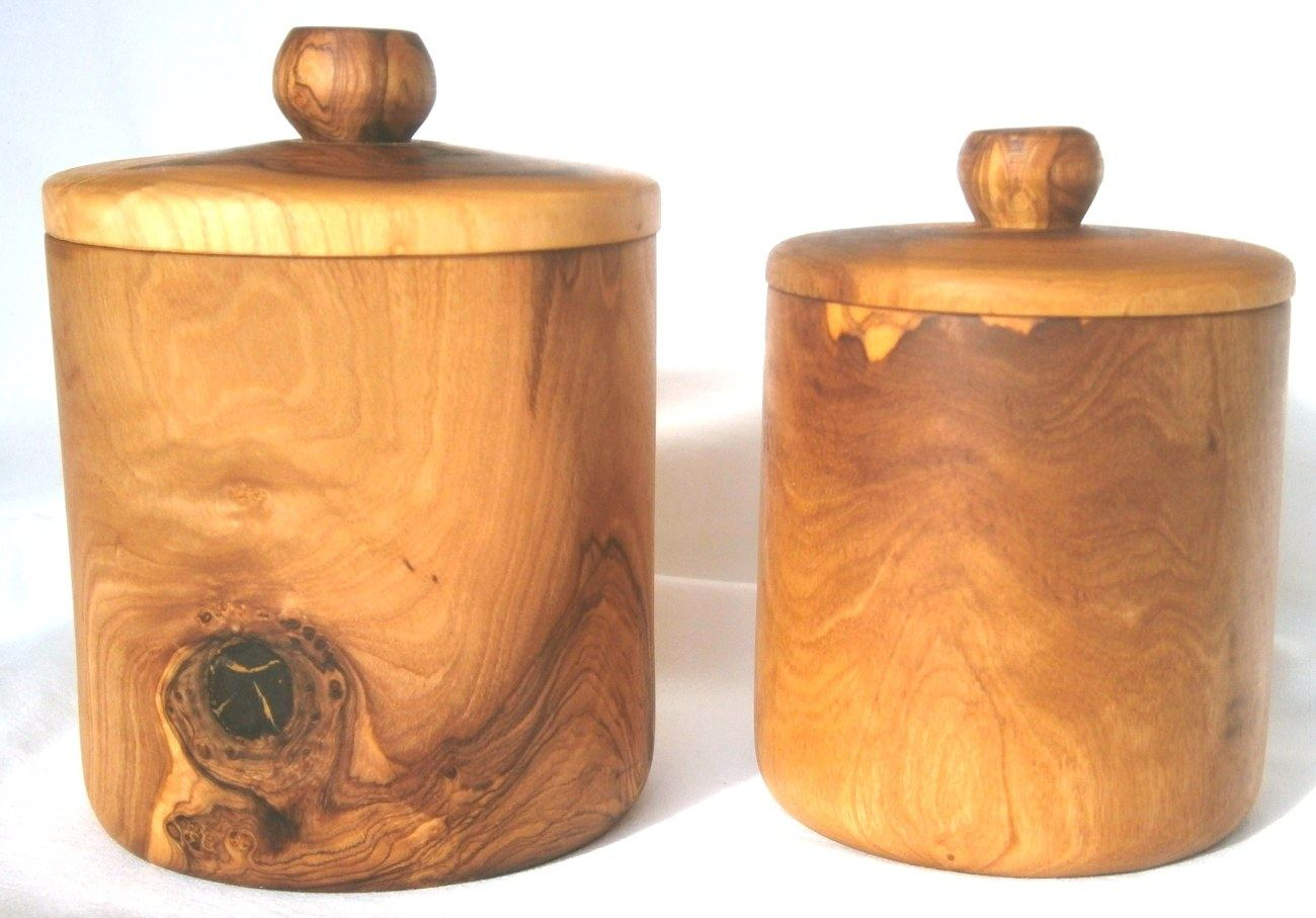 Olive Wood Coffee U0026 Sugar Containers Set Of 2   Handmade Set, Tall U0026 Short