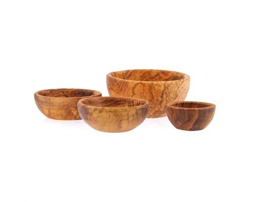 Olive Wood Bowl Set of 4 - Handmade Wooden Serving Bowls