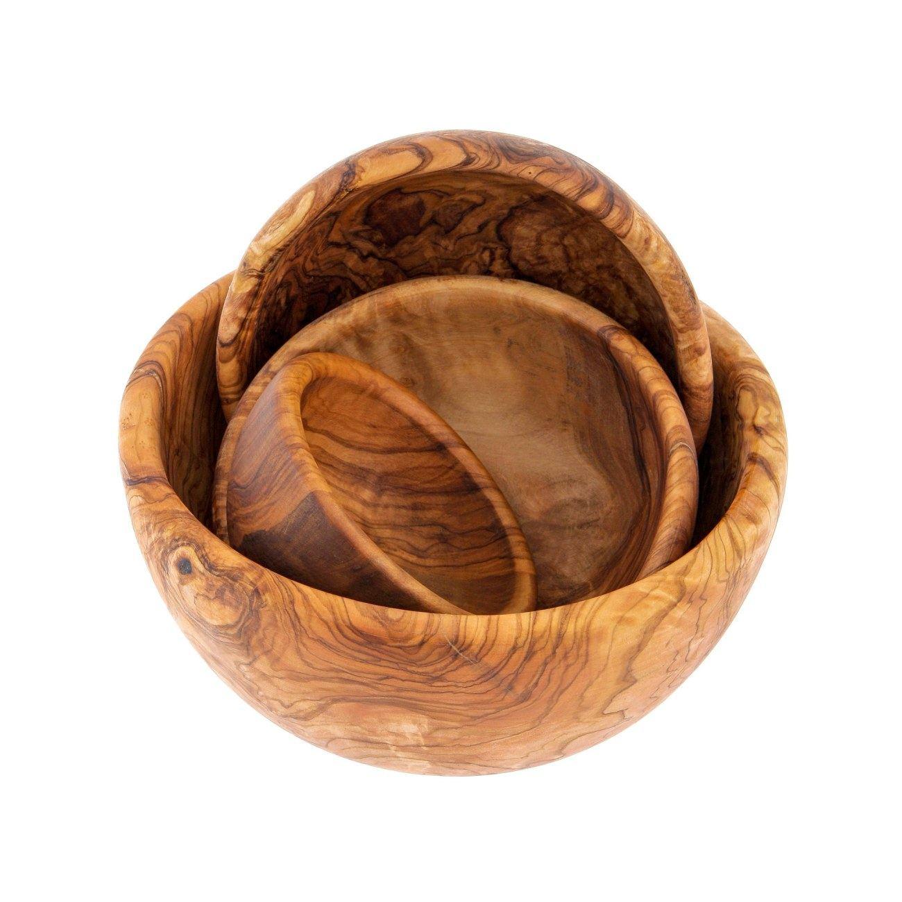 Olive Wood Bowl Set Of 4 Handmade Wooden Serving Bowls