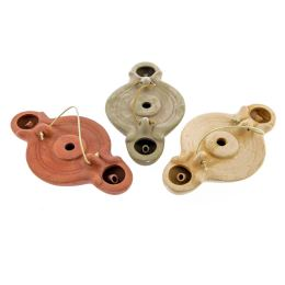 Oil Lamp - Ancient Greek Style Replica, 2 Flames - 3 colors