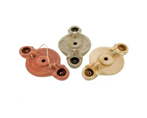Oil Lamp - Handmade Quality Ceramic, Ancient Greek Style Replica - Olive Green, 2 Flames, Tabletop