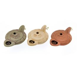 Oil Lamp - Handmade Quality Ceramic, Ancient Greek Style Replica - Olive Green, 1 Flame, Tabletop