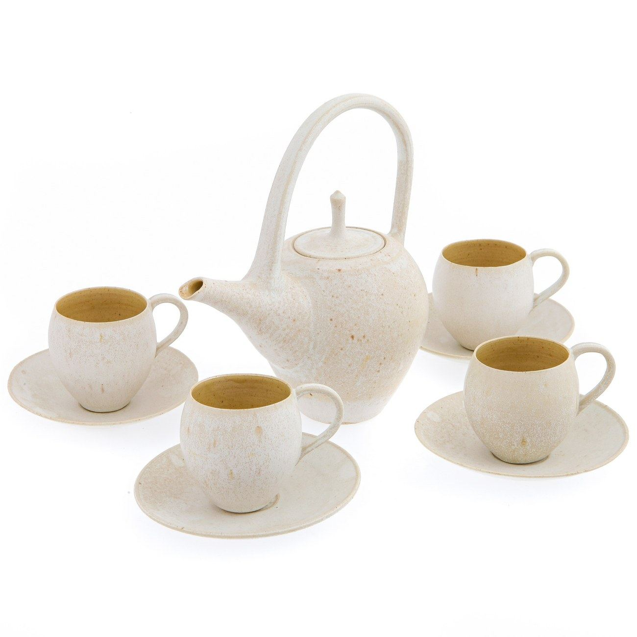 coffee  tea pot   cups with saucers set modern handmade  - teapot  coffee  tea pot   cups with saucers set modern handmadeceramic table serveware beige brown