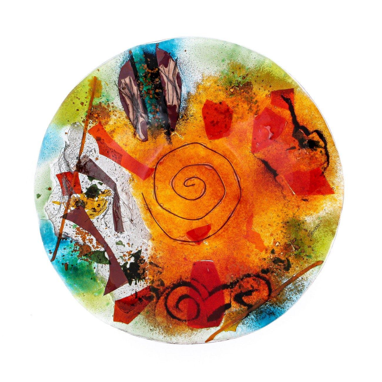Decorative Round Platter Handmade Fused Glass Centerpiece Orange Green Design 35cm 13 8