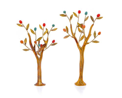 Olive Trees Set of 2 - Handmade Bronze & Ceramic Sculptures - Modern Art Table Decor
