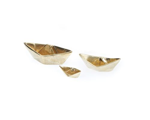 "Boat Decorative Ornament Set of 3, Handmade Solid Bronze Metal, ""Paper Boat"" Design - Large, Medium & Small, Gold Color"