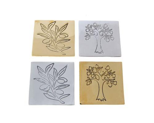 Drink Serving Coasters Set of 4 - Handmade Bronze Metal - Olive Branch Design - Gold