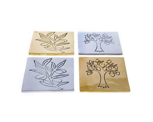 Drink Serving Coasters Set of 4 - Handmade Aluminum Metal - Pomegranate Tree Design - Silver